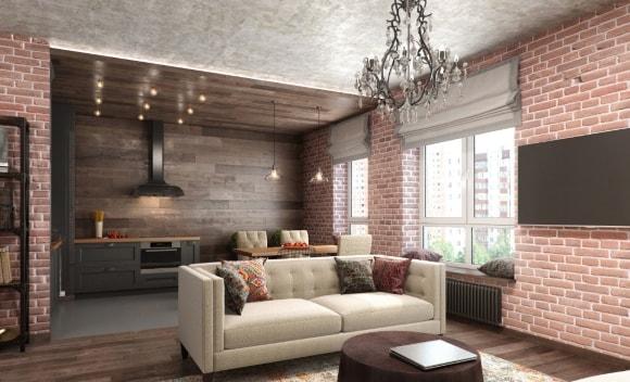 Кухня-гостиная с кирпичной стеной в стиле лофт