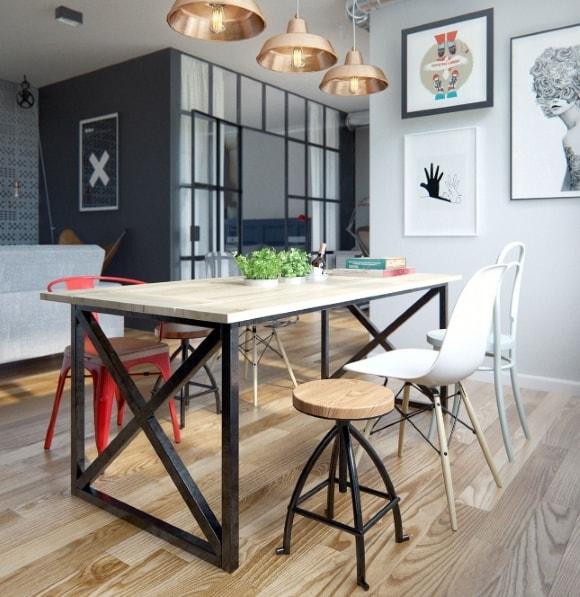 Кухонный обеденный стол в стиле лофт