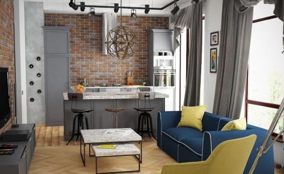 Квартира-студия с кирпичной стеной в стиле лофт