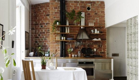 Полки в стиле лофт на кухне