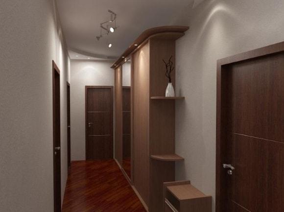 Прихожая длинного форм-фактора в коридоре
