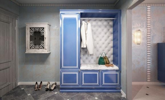 Прихожая голубого оттенка в коридоре