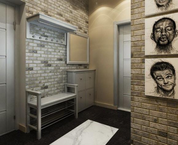 Прихожая в коридоре, выполненная в стиле лофт