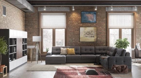 Раскладной диван-кровать в лофт-интерьере