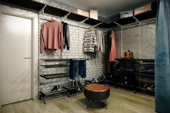 Стиль лофт в интерьере гардеробной