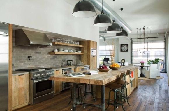 Столешница в интерьере кухни стиля лофт