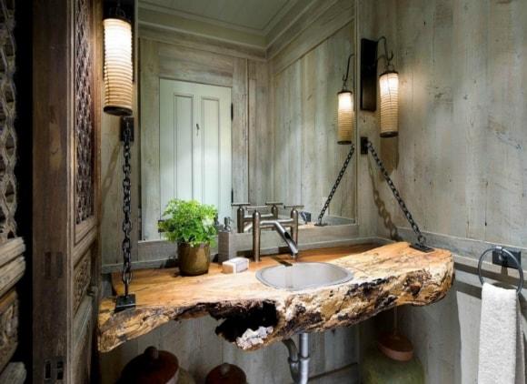 Столешница в ванной в стиле лофт