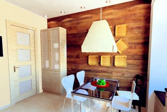 Декорирование стен кухни ламинатом