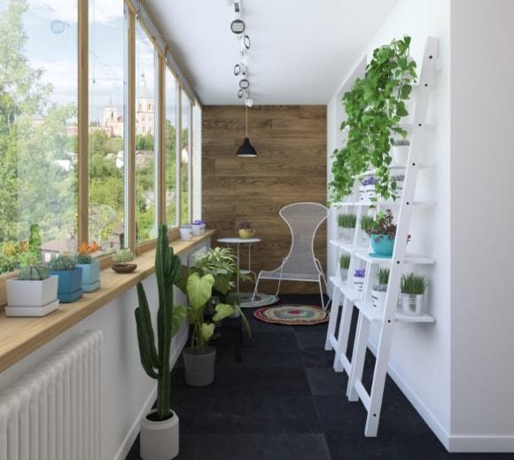 Дизайн интерьера балкона скандинавского стиля