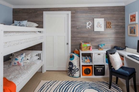 Дизайн интерьера детской скандинавского стиля для двух детей