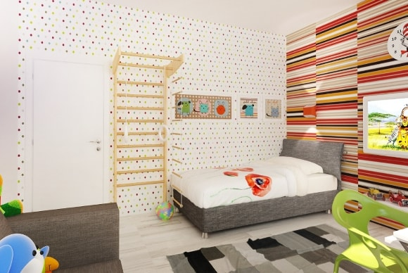 Дизайн интерьера детской скандинавского стиля для мальчика