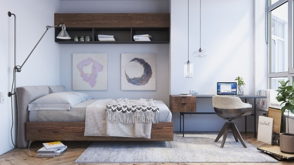 Дизайн интерьера комнаты скандинавского стиля для подростка