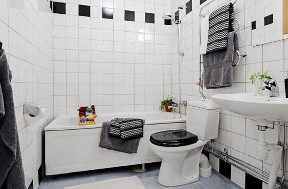 Дизайн интерьера маленькой ванной скандинавского стиля
