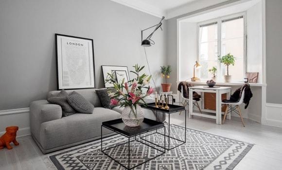 Дизайн интерьера зала скандинавского стиля