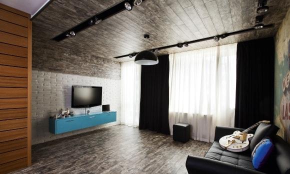 Фото стен гостиной, отделанных ламинатом