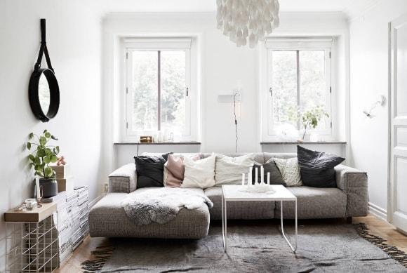 Гостиная скандинавского стиля маленького размера