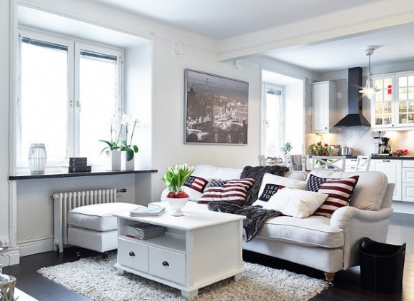 Гостиная скандинавского стиля, совмещенная с кухней