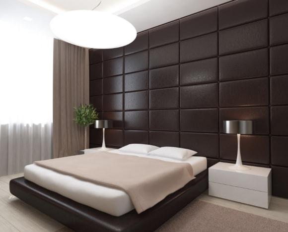 Кожаный ламинат в интерьере на стене