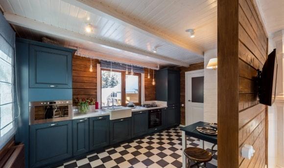 Кухня скандинавского стиля синего цвета