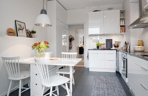 Кухня скандинавского стиля угловой формы