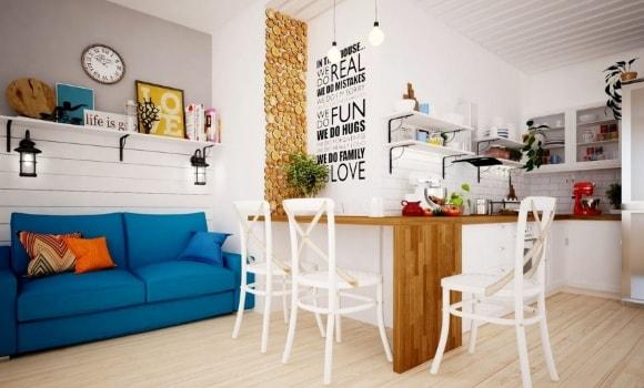 Квартира-студия, выполненная в сканди-стиле
