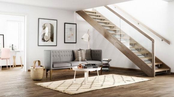 Лестница в скандинавской гостиной