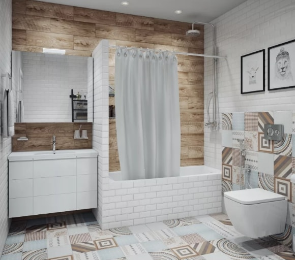 Маленькая ванная скандинавского стиля