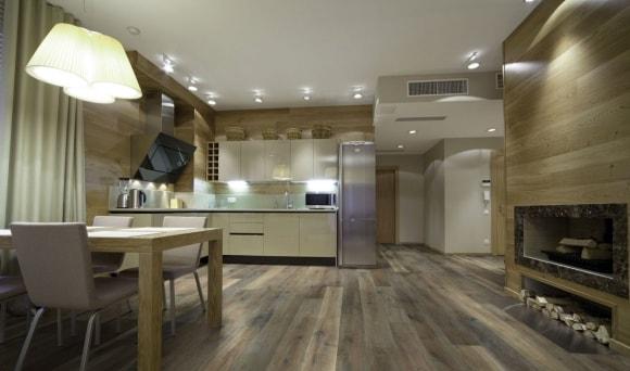 Обшивка стен кухни ламинатом