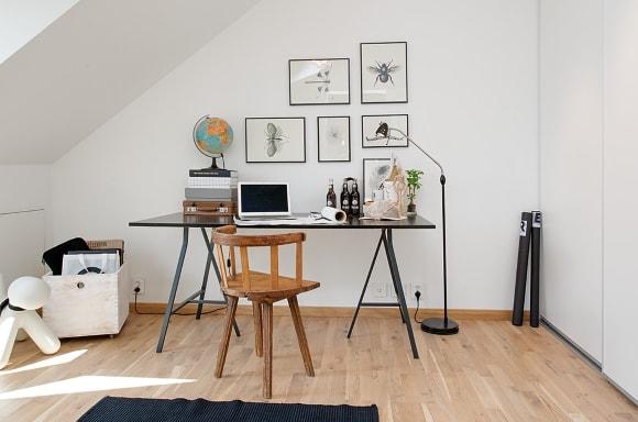 Письменный стол в интерьере скандинавского стиля