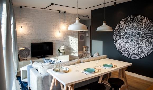 Потолочные светильники в интерьере скандинавского стиля