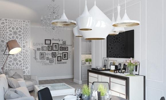 Потолочный светильники со стеклянными абажурами в скандинавском стиле