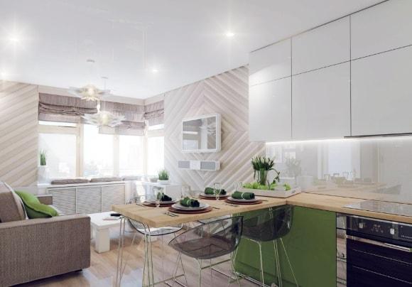 Разделение гостиной и кухни барной стойкой