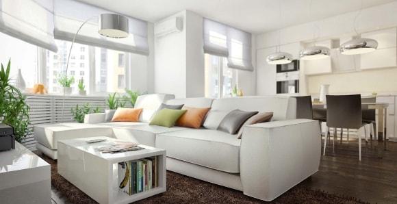 Разделение гостиной и кухни диваном