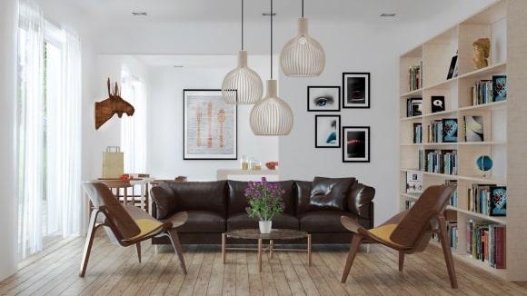Скандинавская мягкая мебель в большой гостиной
