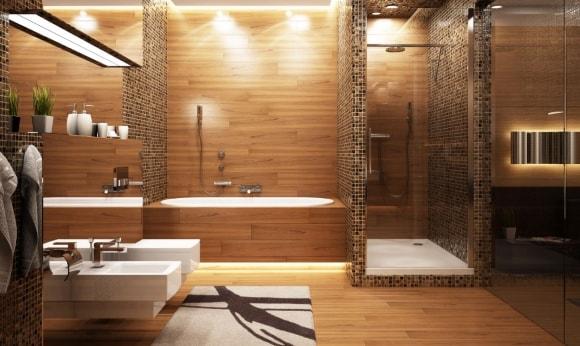 Стена в туалете, отделанная ламинатом