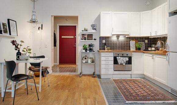 Угловой кухонный гарнитур в скандинавском стиле