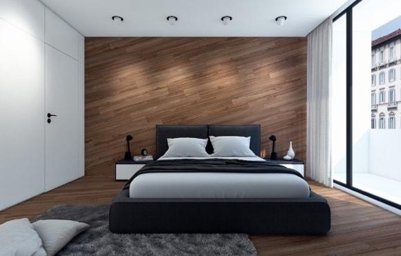 Вариант отделки стен спальни ламинатом