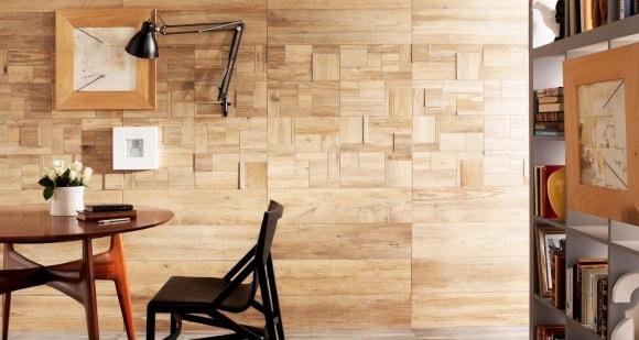 Виниловый ламинат в интерьере на стене