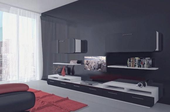 Черная матовая стенка в интерьере гостиной