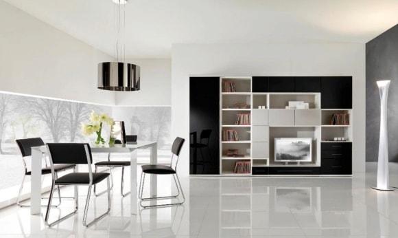Черно-белая стенка в интерьере гостиной