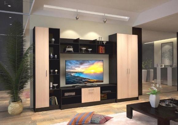 Современная большая стенка в гостиной комнате