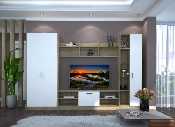 Современная длинная стенка в гостиной комнате 4м