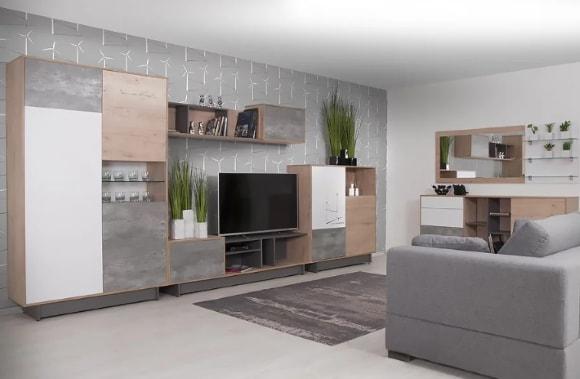 Современная модульная стенка в гостиной комнате
