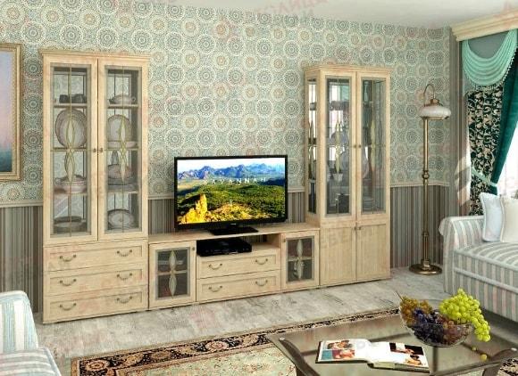 Современная посудная стенка в гостиной комнате
