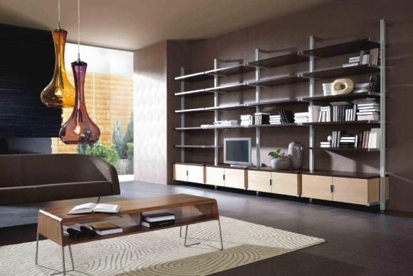 Современная стеллаж-стенка в гостиной комнате