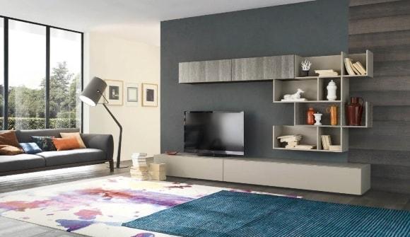 Современная стенка в гостиной комнате в стиле хай-тек