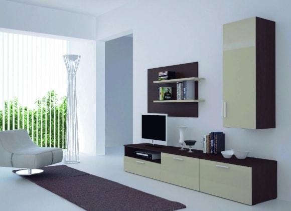 Современная стенка в гостиной комнате в стиле минимализм