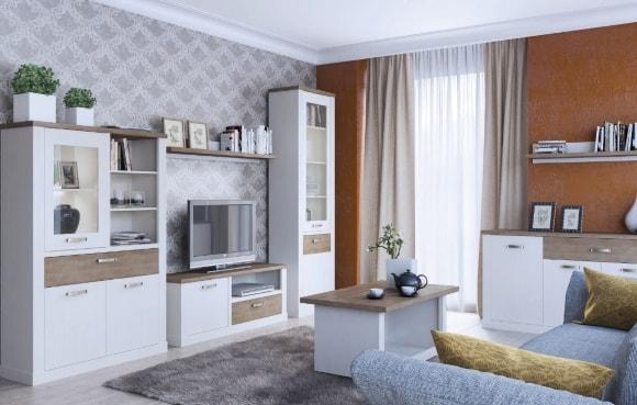 Современная стенка в гостиной комнате в стиле прованс