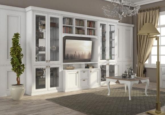 Современная стенка в гостиной комнате в стиле современная классика