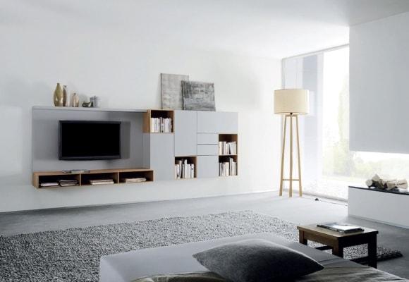 Стенка в гостиной в стиле минимализм